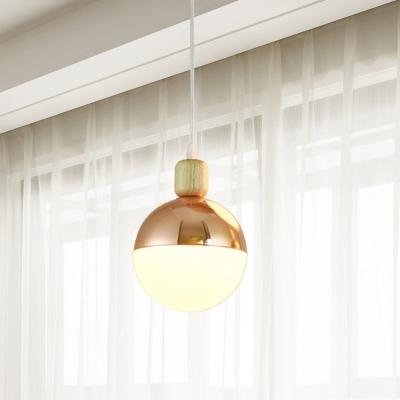 Globe Opal Glass Pendant Light Fixture Modern 1 Head Gold Finish Hanging Ceiling Lamp