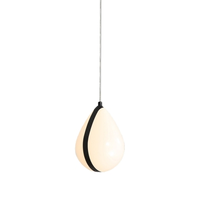 Metallic Waterdrop Drop Pendant Contemporary 1 Head Black and White Hanging Lamp Kit for Bedroom in Warm/White Light