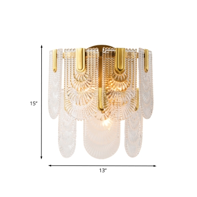 Panel Crystal Wall Light Sconce Traditional 3 Bulbs Wall Lamp Fixture in Brass for Living Room