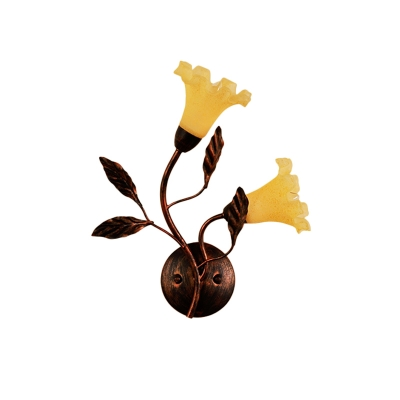 Red Brown Flower Wall Sconce Light Countryside Yellow Glass 2/3 Heads Bedroom Wall Lamp Fixture