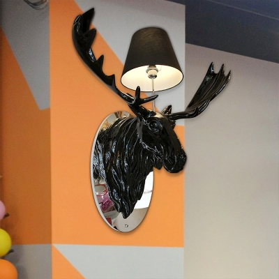 Resin Black Wall Lamp Deer Sculpture 1 Light Corridor Wall Lighting Ideas with Cone Fabric Shade