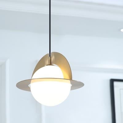 Sphere Milk White Glass Pendant Post Modern 1-Light Gold Finish Hanging Ceiling Lamp with Panel Detail