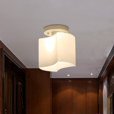 1-Light Corridor Semi Flush Mount Simple White Small Ceiling Lamp with Curved Opal Glass Shade