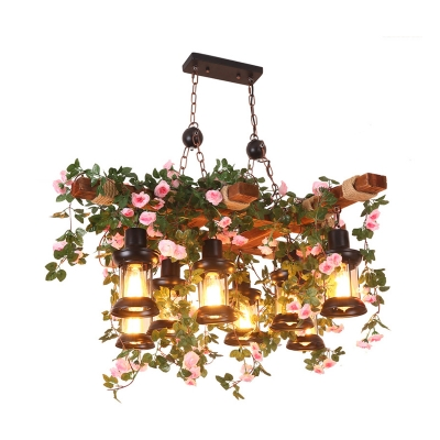 8 Lights Blossom Ceiling Chandelier Lodge Wood Clear Glass Drop Lamp with Lantern Shade