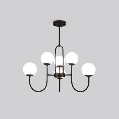 Black Arced Arm Pendant Chandelier Modern 6/9-Light Iron Suspension Lamp with Orb Cream Glass Shade