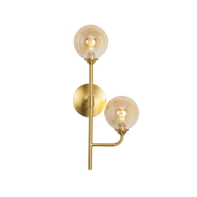 Branching Wall Light Fixture Postmodern Amber/Smoke Glass 2 Bulbs Dining Room Sconce Light in Gold