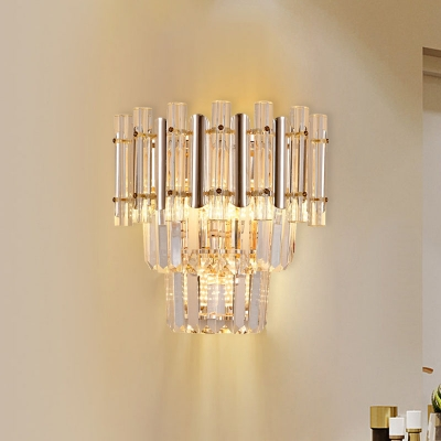 Crystal Layered Wall Mount Light Modernist 3 Heads Gold Finish Wall Sconce Lamp for Living Room