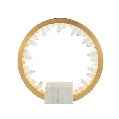 Gold LED Nightstand Light Vintage Clear Crystal Icicle Circular Table Lamp with Marble Base
