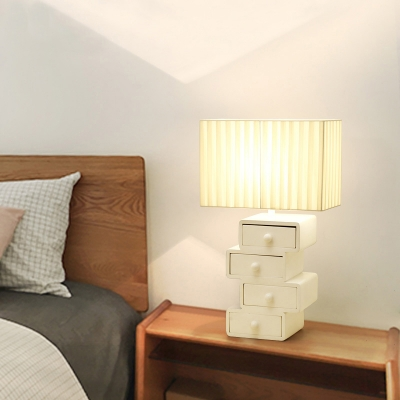 Pleated Fabric Box Nightstand Lamp Modern Functional 1-Light White Table Light with 4-Layer Wood Drawer Base