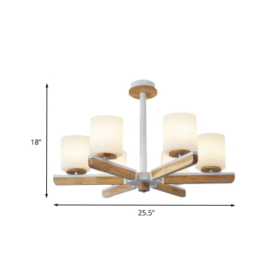 Wood Cylinder Ceiling Chandelier Modernist 6-Head White Frosted Glass Radial Suspension Light
