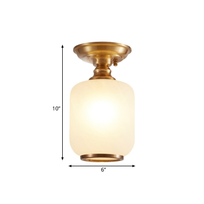 1 Head Milk Glass Semi Flush Light Vintage Brass Cylinder Passage Ceiling Mounted Lamp