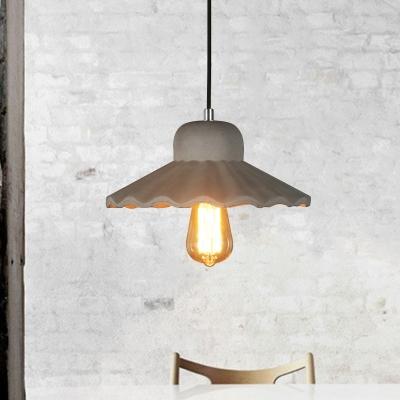 1-Light Scalloped Hanging Light Kit Vintage Grey Cement Ceiling Pendant Lamp for Bar, HL614344