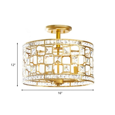 3/4 Lights Laser-Cut Drum Semi Mount Lighting Modern Gold Finish Beveled Crystal Close to Ceiling Lamp