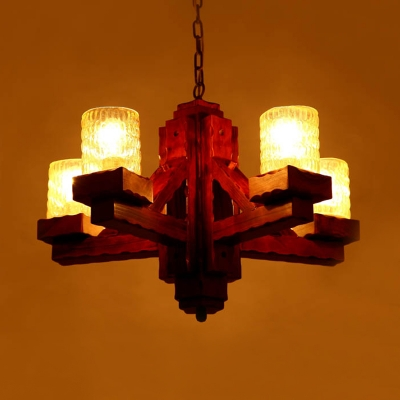 5 Lights Clear Glass Ceiling Chandelier Countryside Brown Cylinder Living Room Pendant Light Kit with Wood Arm