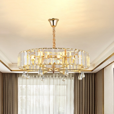 6/8-Light Crystal Block Chandelier Modernism Gold Circle Living Room Hanging Ceiling Lamp with Droplet