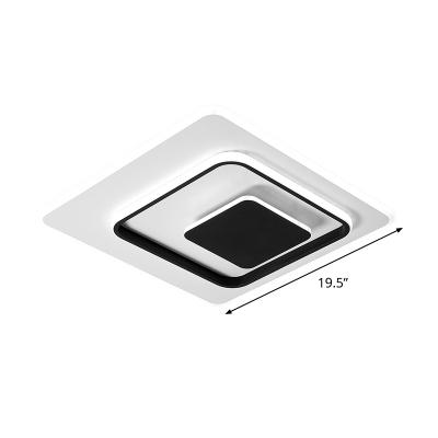 Black-White Squared Ceiling Flush Mount Modern LED Acrylic Flush Lighting in White/Warm Light, 16