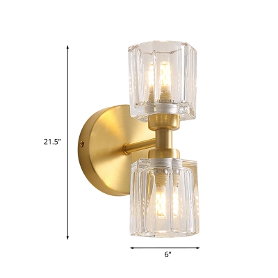 Brass 2-Head Wall Light Fixture Retro Clear Glass Prism Sconce Lighting for Living Room