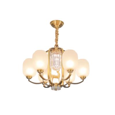 Brass Oval Chandelier Lighting Modernism White Frosted Glass 3/6-Light Bedroom Ceiling Pendant Lamp