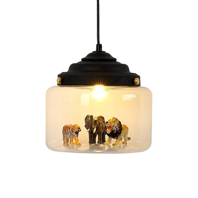 Canning Jar Clear Glass Pendant Kids 1 Head Black/White Suspended Lighting Fixture with Animal Statue