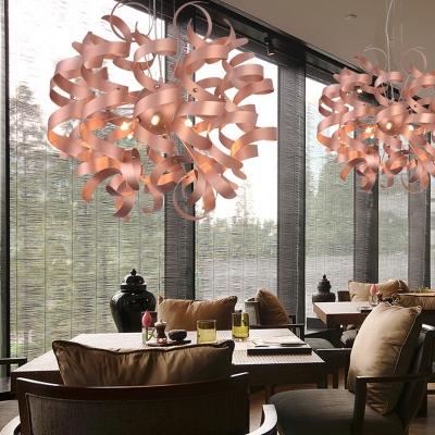 Contemporary Spiral Ribbon Shape Pendant Metal 6-Light Restaurant LED Hanging Chandelier in Copper