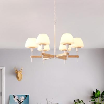 Frosted White Glass Jar Shape Pendant Light Modernist 6 Lights Wood Radial Chandelier Lamp