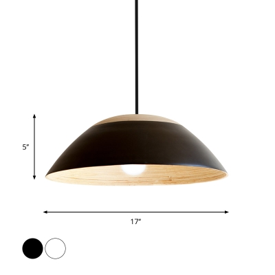 Handmade Bamboo Wide Bowl Pendant Lamp Nordic 1 Head Black/White Finish Hanging Light Fixture