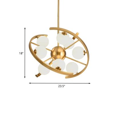 Modern Orb Pendant Chandelier White Frosted Glass 9-Light Living Room LED Star Hanging Light in Gold