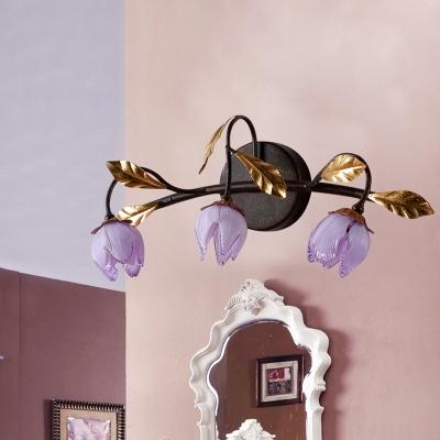 Purple Glass Floral Vanity Sconce Light Antiqued 3-Light Bedroom Wall Mount Lamp Fixture in Black