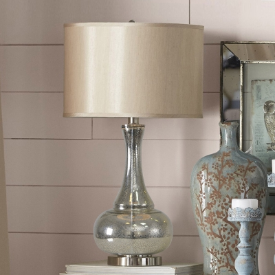 Silver Long Neck Gourd Night Lamp Rural Crackle Glass 1-Light Bedside Table Light with Fabric Shade