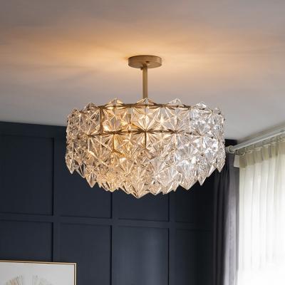 Traditional Snowflower Chandelier Light 6-Light Crystal Suspension Lamp in Brass