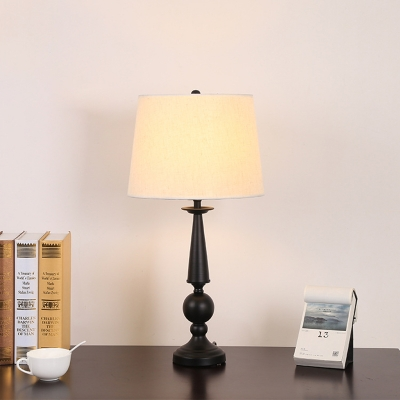 White 1-Light Table Lamp Rural Fabric Tapered Drum Nightstand Light for Living Room