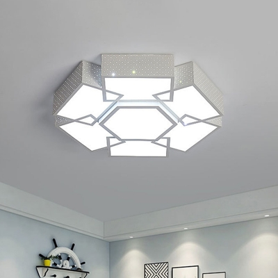 White Hexagonal LED Ceiling Lamp Contemporary Acrylic Flush Mount Light Fixture with Dot Design in Warm/White Light, 19.5