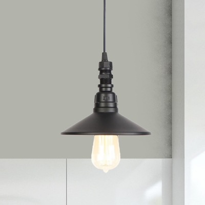 Beautifulhalo coupon: 1 Bulb Hanging Lighting Industrial Corridor Adjustable Pendant Lamp with Saucer Iron Shade in Black