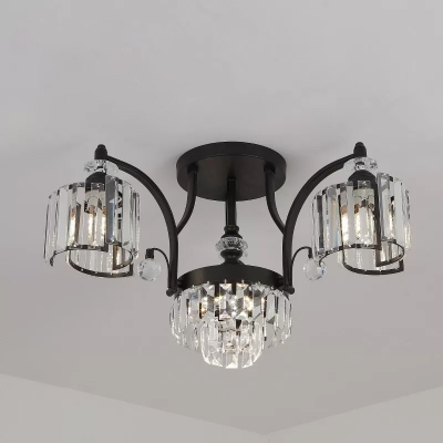 3/6 Heads Curvy Arm Semi Flush Light Modernism Black Metallic Ceiling Mounted Lamp with Crystal Block Shade