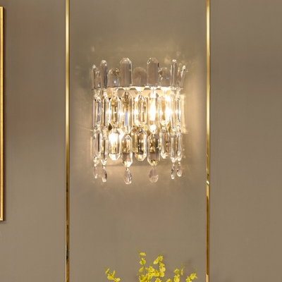 Half Drum Wall Light Fixture Modernist Clear Crystal 2 Lights Living Room Wall Lamp Sconce