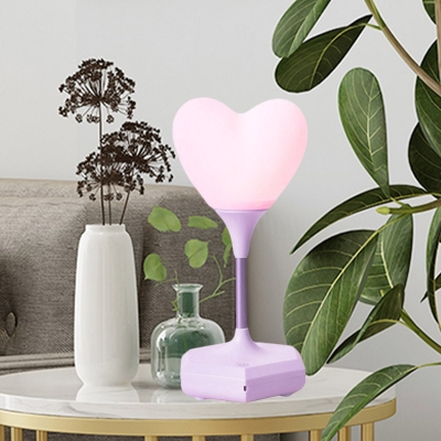 LED Bedroom Night Table Light Kids White/Pink/Purple Finish Night Lamp with Loving Heart Plastic Shade
