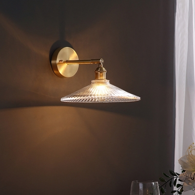 Scalloped Clear Glass Wall Lighting Minimalist 1-Bulb Brass Finish Sconce Lamp Fixture