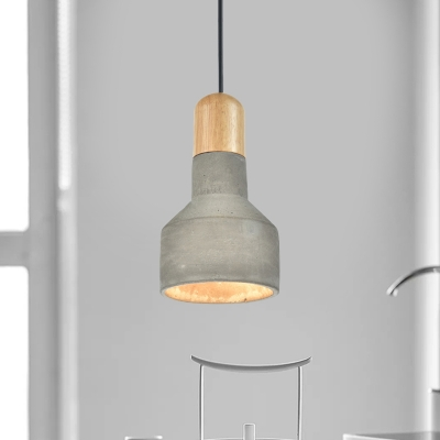 Vintage Jar Shaped Ceiling Light 1-Light Cement Hanging Pendant Lamp in Grey/Red/Blue and Wood, Blue;green;red;grey, HL614374