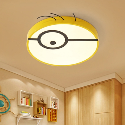 Yellow Round Flushmount Lamp Cartoon LED Acrylic Flush Ceiling Light Fixture for Kids Bedroom