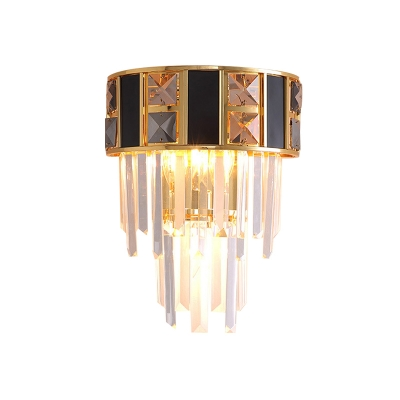 3-Tier Crystal Icicle Flush Wall Sconce Vintage 3 Lights Parlor Wall Lighting Fixture in Black-Gold