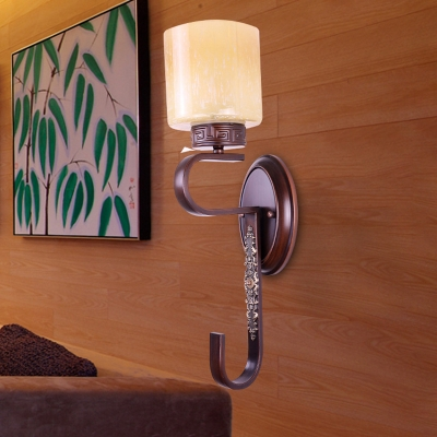 Amber Glass Black Sconce Cylinder 1 Head Traditional Style Wall Mount Lighting with Twisted Arm