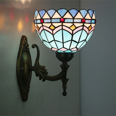 Blue Wave-Pattern Bowl Sconce Baroque 1 Head Stained Art Glass Wall Mounted Light Fixture