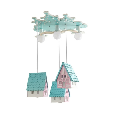 Cartoon House Semi-Flush Ceiling Light Wood 3 Lights Kids Room Flushmount Lamp in Blue