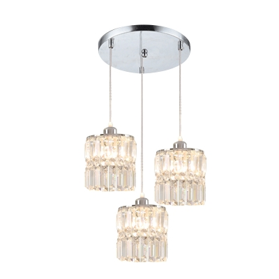 Chrome 3 Bulbs Cluster Pendant Minimalism Crystal Cylindrical Hanging Ceiling Light