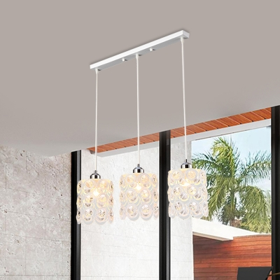 Crystal Embedded Cutouts Cluster Pendant Modern 3-Light White Finish Drop Lamp for Dining Room