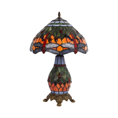 Dragonfly Cut Glass Night Table Light Victorian 2-Bulb Bronze Desk Lamp with Vase Base