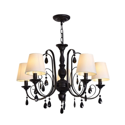 Fabric White Pendant Lamp Conical 5 Heads Modern Chandelier with Black Swoop Arm and Crystal Drop