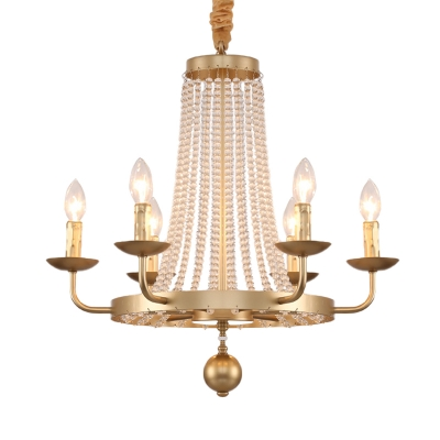 Flared Crystal Beading Suspension Lamp Antique 6 Bulbs Living Room Chandelier with Bare Bulb Design in Gold