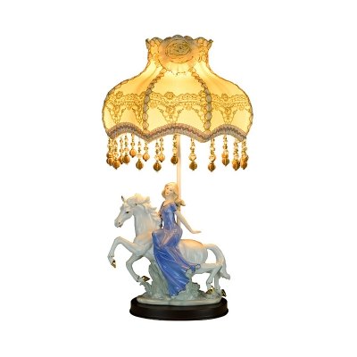Floral Fabric Beige Nightstand Lamp Scalloped Single Pastoral Table Light with Maiden and Horse Base