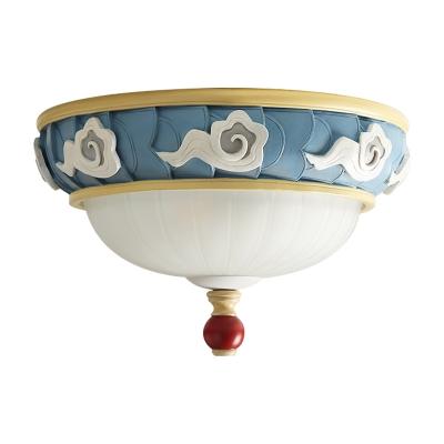 Macaron Cloud-Edge Bowl Flush Light Opaline Glass 3 Heads Bedroom Ceiling Mount Lamp in Blue